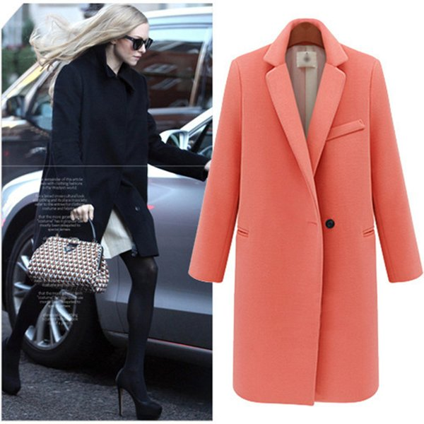 Clearance Wool Blends V- Neck Long Coat Women Winter Jackets And Coats Turndown Long Sleeve Outerwear y647