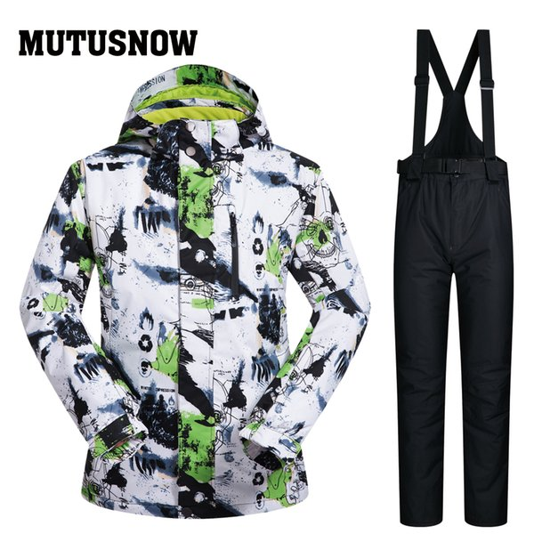 2019 NEW Winter Men Ski Suit Super Warm Clothing Skiing Snowboarding Jacket+Pants Suit Windproof Waterproof Winter Wear Outdoor Snow Sets