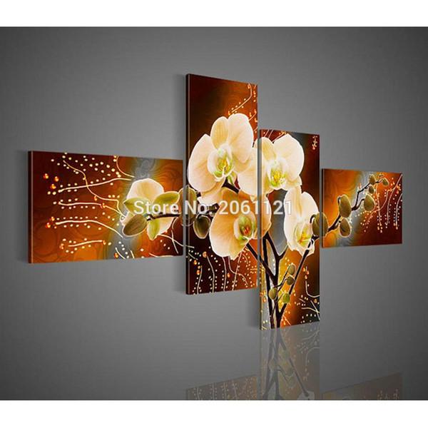 Acheter Moderne Orchidée Peinture Jaune Marron Fleur Toile Peinture à L Huile Peint à La Main Peintures Murales Décoration Morceaux De Cadeaux De