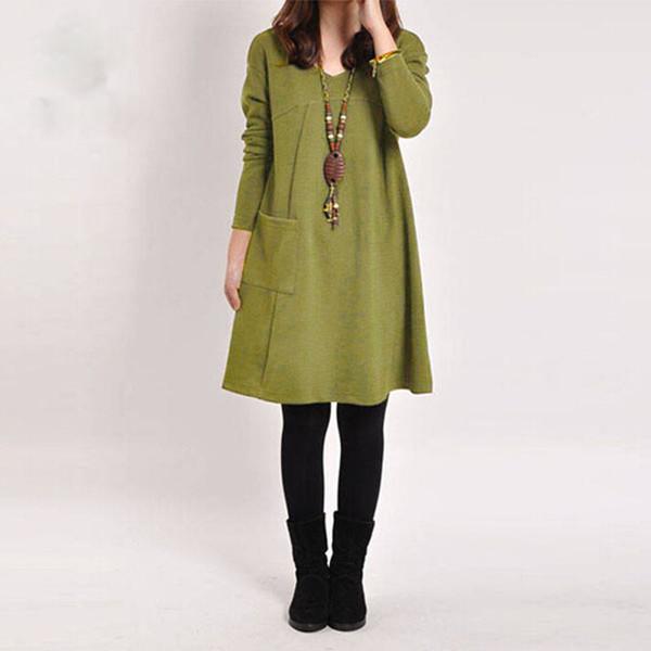 Plus Size Abito Donna Vintage Tasca allentata Casual manica lunga Midi Dress Vestidos Vendaje 2019 Solid Winter Dress 5xl abiti firmati