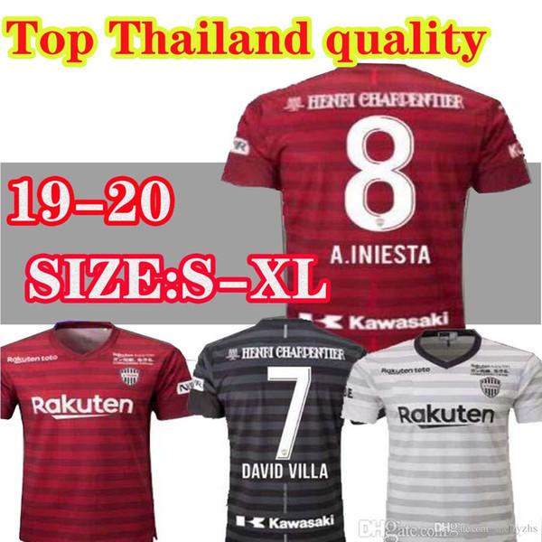 2019 2020 J ligi Vissel Kobe Futbol Formaları 8 A.INIESTA 7 DAVID VILLA MITA 10 PODOLSKI Özel Ev Kırmızı Deplasman Futbol Gömlek