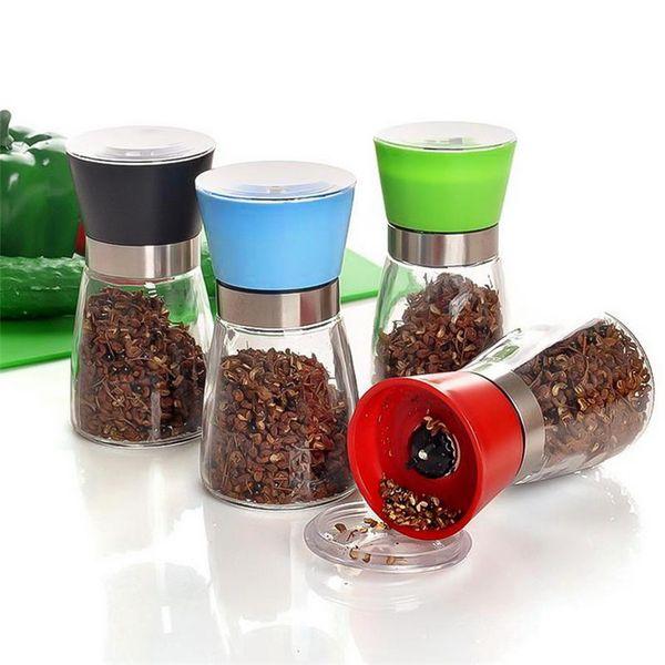 New style Hand movement black pepper grinder Creative Kitchen supplies glass grinder Shaker Salt Container Condiment jar T9I00157