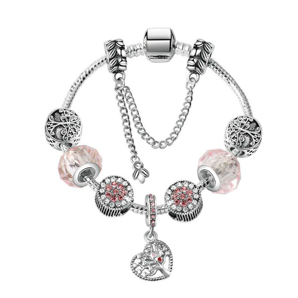 top popular 17-21CM Charm Bracelet 925 Silver Bracelets Life Tree Pendant Charms Bead Bangle snake chain as Christmas Gift Diy Jewelry Accessories 2021