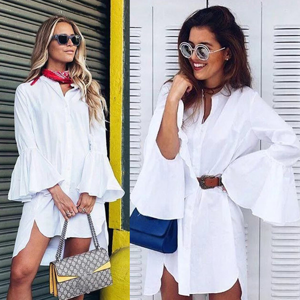 New Women White Flare Sleeve Shirt Dress Summer Fashion O Neck Straight Elegant Woman Bloues Casual Clothing Tops