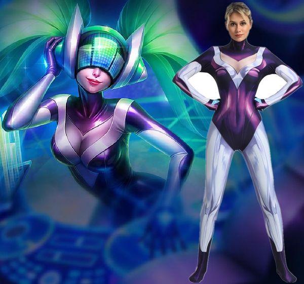 3D Printed DJ Sona Cosplay Costume LOL Game Lycra Spandex Undersuit Superhero Costume Zentai Catsuit Base Bodysuit for Girls