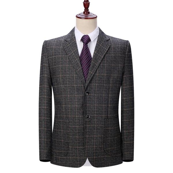 WAEOLSA Men Plaid Blazers Gray Jacket Suit Man Spring Autumn Outfits Plus Size Blazer Male Jacket Suit 2 Buttons Garment Blazer