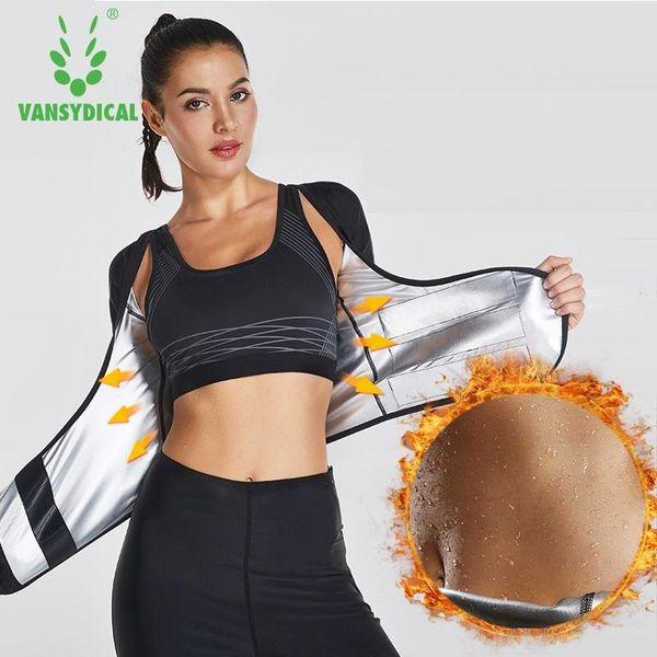 Vansydical Mulheres Hot Sweat Sport Top aptidão Mulheres Gym shirt de funcionamento Sportswear cintura instrutor Shaper Corpo Gym Top Shapewear