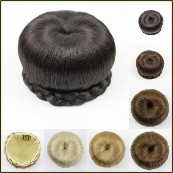 Heat Resistant Fiber Black/Light Brown/Blonde Women Synthetic Hair Buns Clip-in Big Size Chignons for Ladies