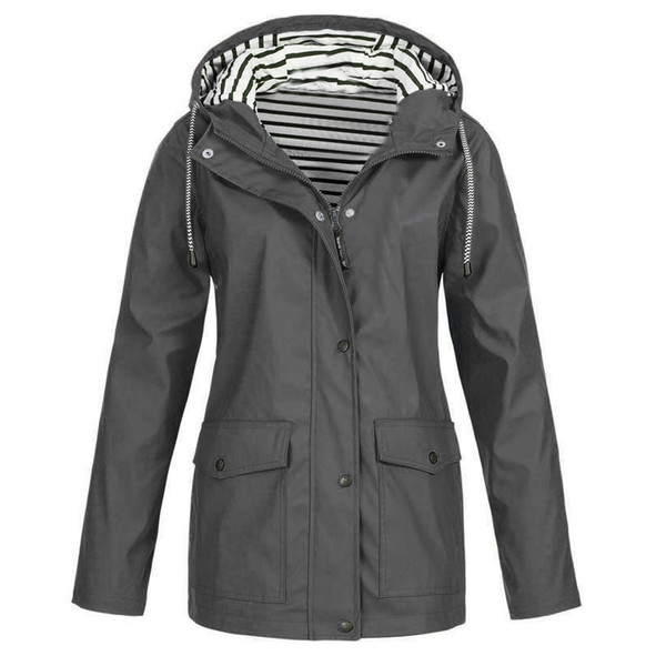 New Fashion Windproof Raincoat Women Long Sleeve Hooded Solid Rain Jacket Outdoor impermeabile impermeabile con cappuccio
