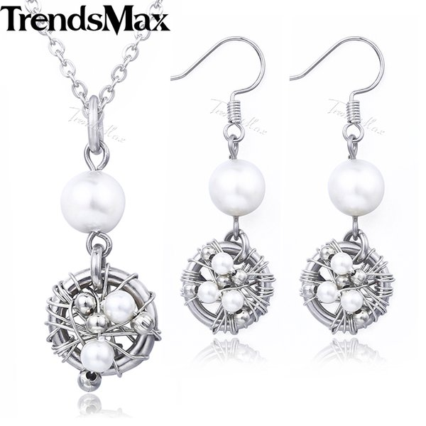 Women's Jewelry Set 925 Sterling Silver Simulated Pearl Pendant Necklace Dangling Earrings For Women Christmas Gifts 2018 DS01