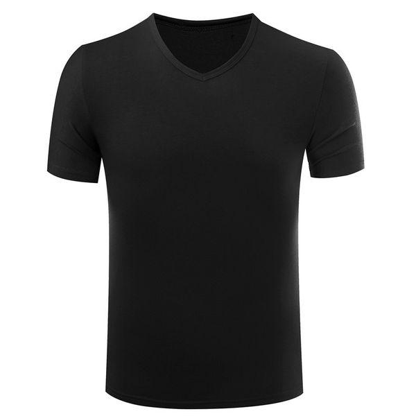 Nueva Llegada Camiseta Homme Camiseta de Manga Corta Hombres Elástico Lycra Cuello En V Camisetas Apta Ropa Delgada Para Hombre Tee Tops 2019