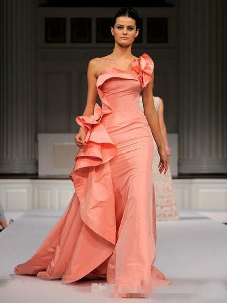One Shoulder Mermaid Evening Dresses 2019 Formal Long elie Saab Taffeta Sweep Train Ruffles Prom Dresses Plus Size