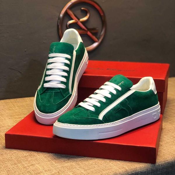 hommes chaussures de marche verte contre - daim musqué cerf peau cravate marques de luxe fond plat chaussures de sport de qualité supérieure Plate-forme joggeurs # 1F