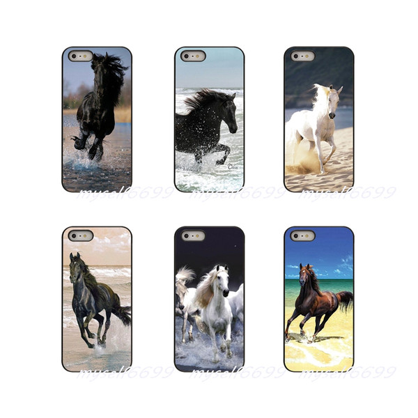 Caballos corriendo en la playa Funda rígida para teléfono iPhone de Apple X XR XS MAX 4 4S 5 5S 5C SE 6 6S 7 8 Plus ipod touch 4 5 6