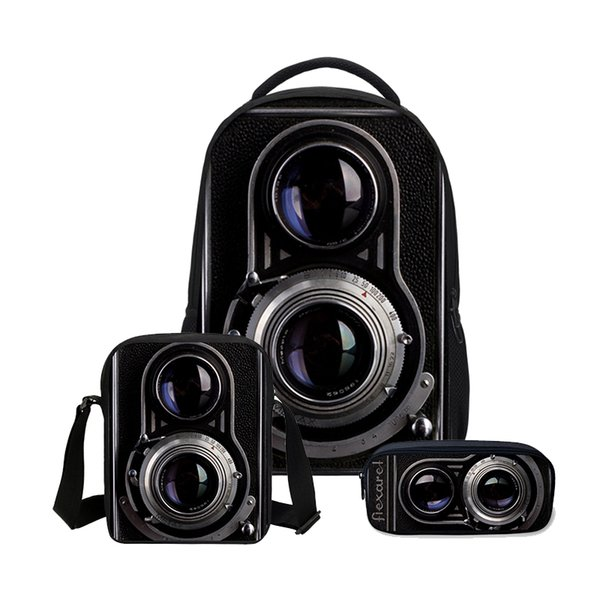 Mode 3 Teile / satz Rucksäcke Für Girs Jungen Mode 3D Kamera Druck Bookbag Kinder Umhängetasche Kühle Beiläufige Leinwand Rucksack