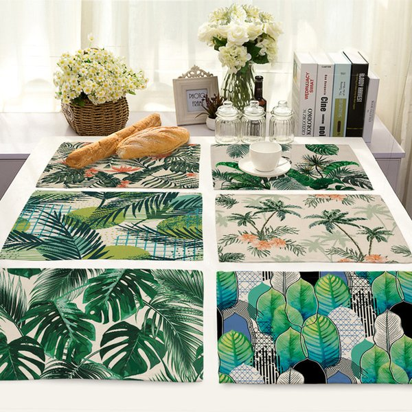 New Leaves Printed Linen Placemat Heat Insulation Table Mat Creative Fabric Kitchen Dinner Table Mats Cup Coasters 42cm*32cm