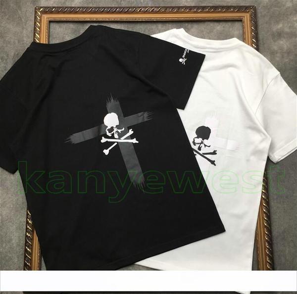 2019 new hotselling Mastermind Japão MMJ Runway tee impressão do crânio T shirt Dos Homens de Algodão cruz imprimir camisetas Hiphop designer Streetwear topos