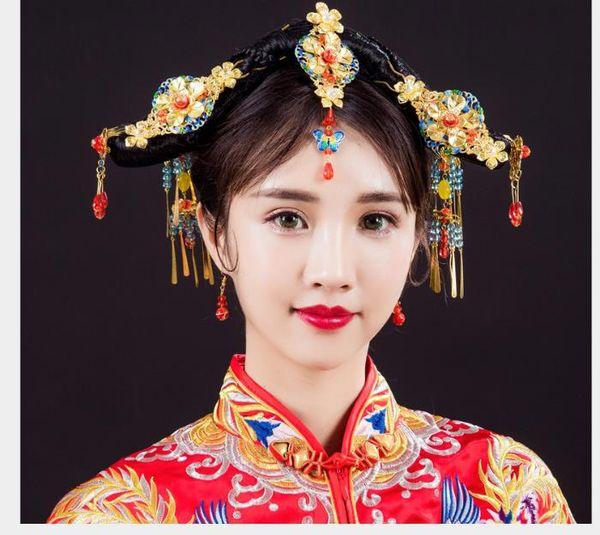 Alte Haarschmuck Hochzeit Zubehör Fengguan Cloisonne Brautschmuck Zubehör