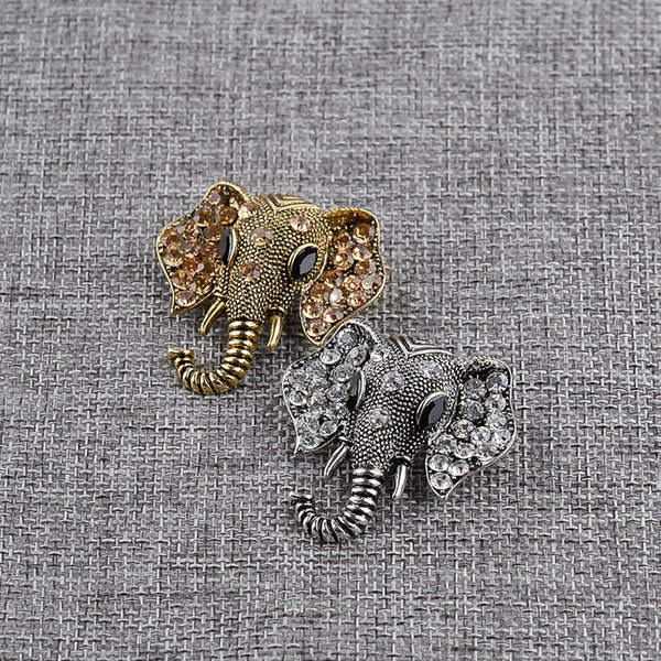 High Quality Vintage Rhinestone Elephant Brooch Bronze Silver Animal Brooches For Women Men Denim Suit Sweater Collar Pin Button Badge
