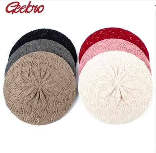 Women's Plain Color Knit Beret Hat Spring Casual Thin Acrylic Berets for Women Ladies French Artist Beanie Beret Hats