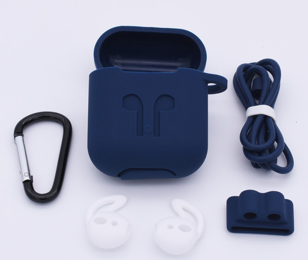 For Airpods Case 10 in 1 Protective Silicone Cover Skin Anti-Lost Strap, Watch Band Holder,Ear Hook For Airpods Accessories Kits