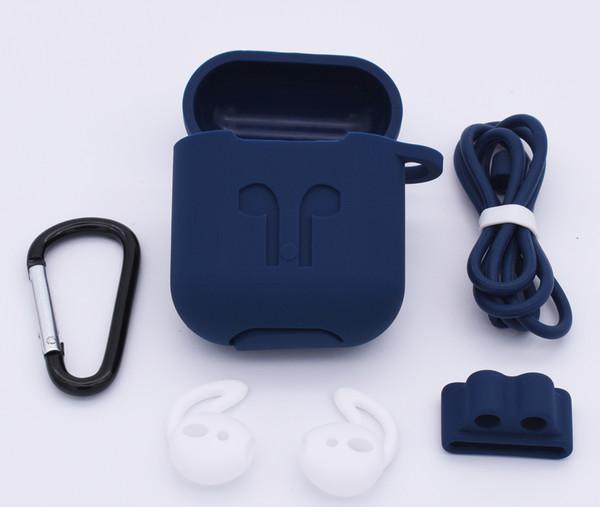 Para fundas Airpods 10 en 1 Funda protectora de silicona Correa anti-perdida, Soporte para banda de reloj, Gancho para oreja para kits de accesorios Airpods
