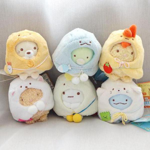 Kawaii Japanese Cartoon Sumikko Corner Corner Bio Plush Toy Doll Cute Handheld Biological Cloak Animal Pendant Girls Gifts