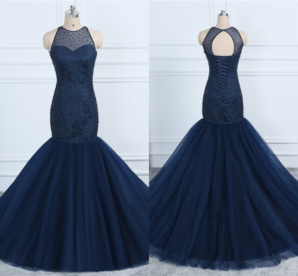 Sexy Navy Mermaid Prom Dresses Pearls Bodies Jewel Lace-up Tulle Dresses Evening Wear Formal Dress Party Evening Gowns 2019 Expensive Gowns