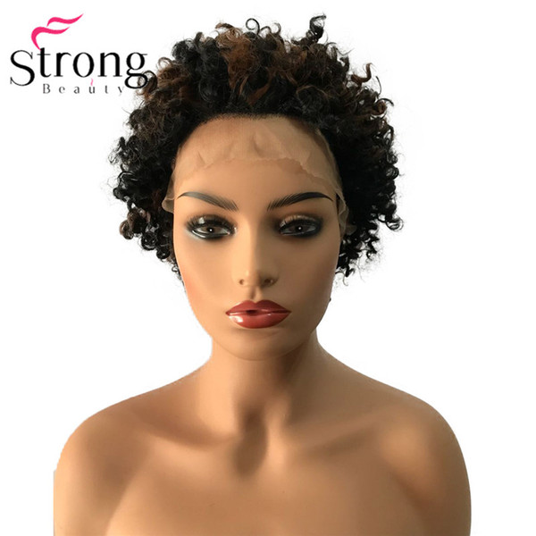 Short Lace Front Short Black Highlighted Kinky Curly Afro High Heat Ok Full Synthetic Wig Wigs COLOUR CHOICES