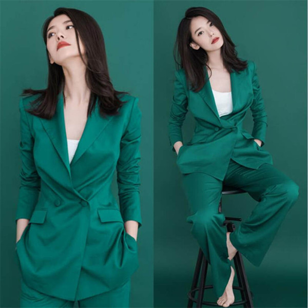 Customized new hot women's green suit two-piece suit (jacket + pants) women's business office official business wear