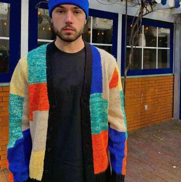 19ss Patchwork Mohair Cardigan Jacket Fashion Stitching Box Sweater Fashion Men Women Couple Jacket High Quality Coat Hfwpjk129