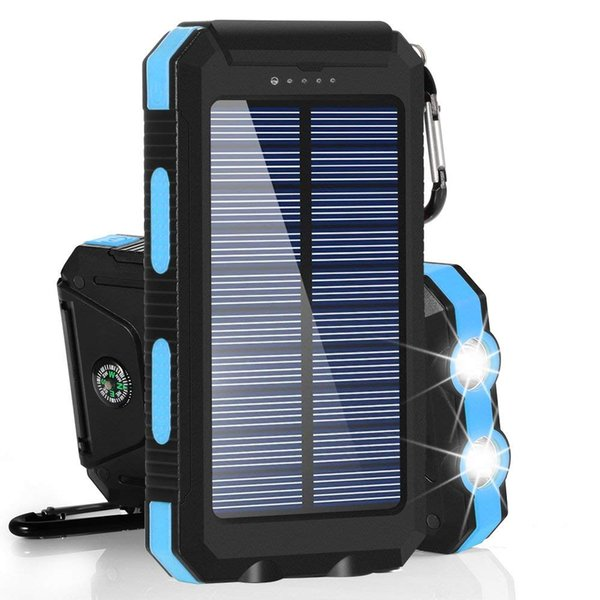 Solar Power Bank Waterproof 10000mAh Solar Charger 2 USB Ports External Charger PowerBank with LED Compass for iPhone Samsung SmartPhone