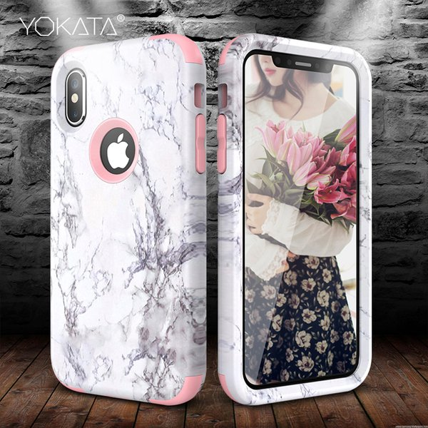 Marble Bumper Case for iPhone X Xs Max Xr 7 6 6s 8 Plus Hard Cover PC Silicone for iPhone 5 5S Se 360 Case Cute Unicorn 3 in 1