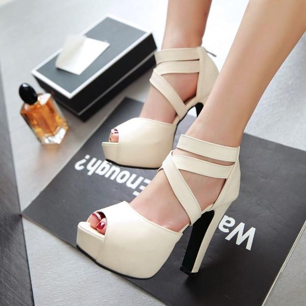 Hot Sale-Brautjungfer Sexy Plattform High Heel Cross Riemchensandalen Schuhe Extra Plus Größe 31 32 33 34 bis 40 41 42 43