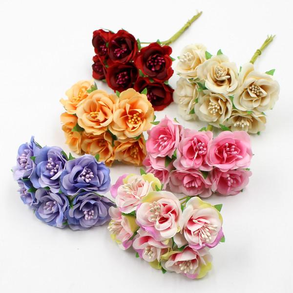 6pcs/lot 3cm artificial silk stamen rose bouquet for wedding home decoration DIY garland scrapbook gift box craft flower