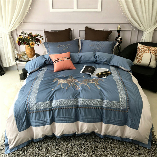 Blue King Size Bedding Sets.Silky Egyptian Cotton Blue Luxury Bedding Set Queen King Size Duvet Cover Bed Sheet Set Embroidery Bedding Sets Pillowcase Queen Duvet Bedding Sets