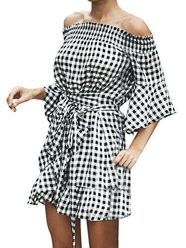 Hestenve Women's Striped Off Shoulder Ruched Bell Sleeve Dress Loose Fit T Shirt Dress