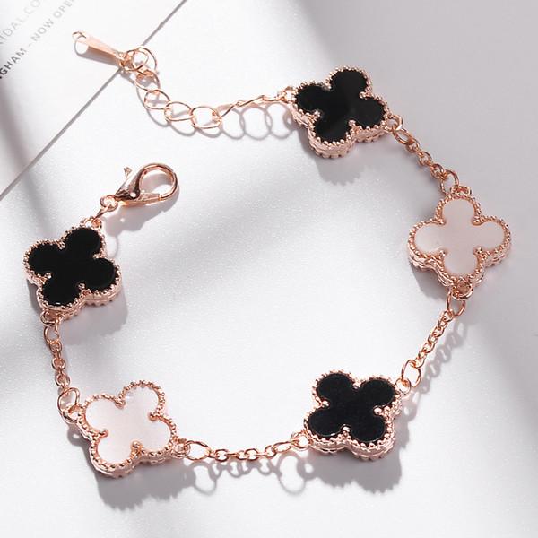 Braccialetto di cristallo di trifoglio austriaco intarsiato d'oro 18 carati braccialetto europeo di lusso di moda delle donne degli Stati Uniti e degli Stati Uniti caldi