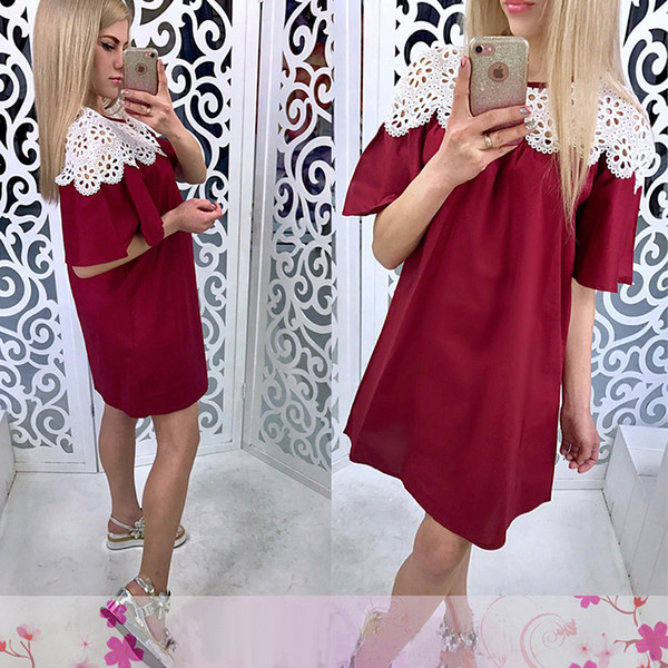 Women Short Batwing Sleeve Sexy Party Dress Ladies O neck Solid Straight Elegant Lace Mini Dress 2019 Summer Fashion Women