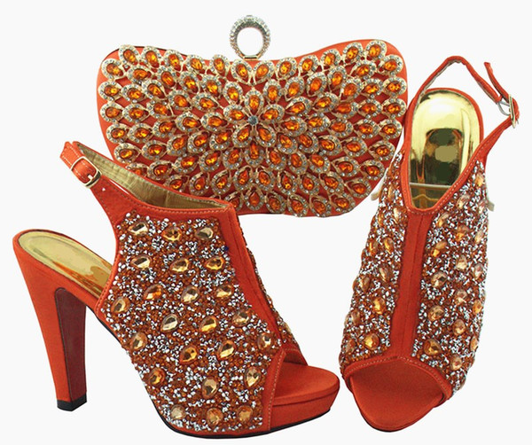 Gorgeous coral women pumps and bag set with colorful crystal decoration african shoes match handbag for dress QSL005,heel 12cm