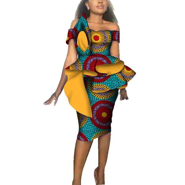 Fashion Women African Dresses for Christmas Party Wedding Africa Wax Print Bazin Riche Sexy Slash Neck Bodycon Midi Dress WY3689
