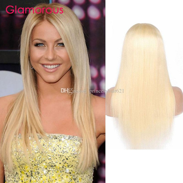 Glamorous Straight Wavy Human Hair Wigs 12-24Inches Blonde Hair Wig Color #613 Peruvian Malaysian Brazilian Indian Russian Hair Wig for sale