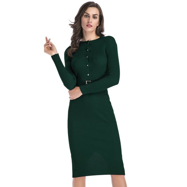 e72da3d50848b Slim Fit Womens Dress Long-sleeved Knit Dress Female Solid Color with Belt  Sexy Package Hip Pencil Skirt