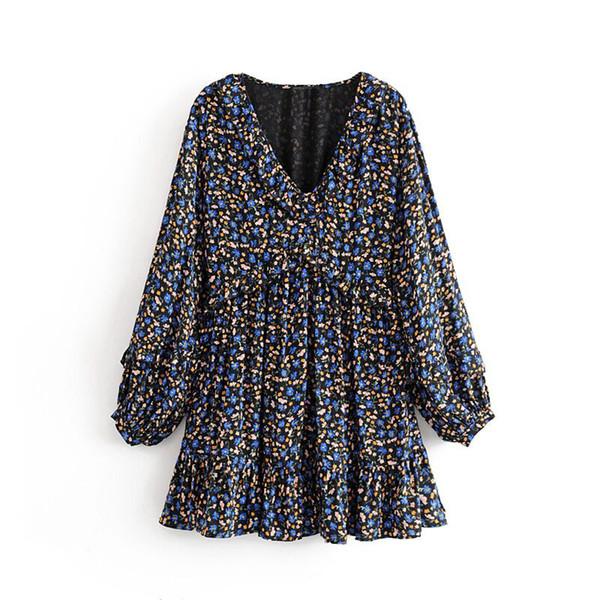 Moda 2019 Za floral de las mujeres de la vendimia de impresión volante vestido elegante con cuello en V manga larga plisada vestidos sueltos Mujer Vestidos