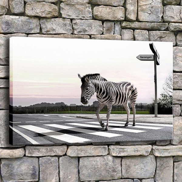 Canvas Painting Living Room Home Decor 1 Piece Zebra Crossing Road Lines Pictures Modern Prints Animals Poster Wall Art
