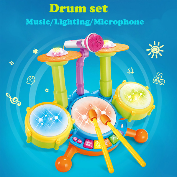 HIINST Flash Light Toy Kids Electric Drum Set Musical Instruments Playset Excellent Solution Interactive Learning Dec26