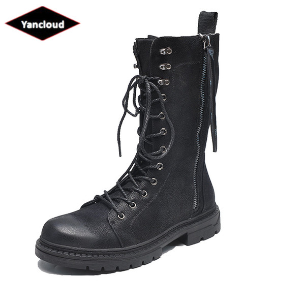 Top Quality Mid Leg Leather Boots Men Shoes 2019 Spring Autumn Motorcycle Boots Wearable Rubber Martin Work Shoe