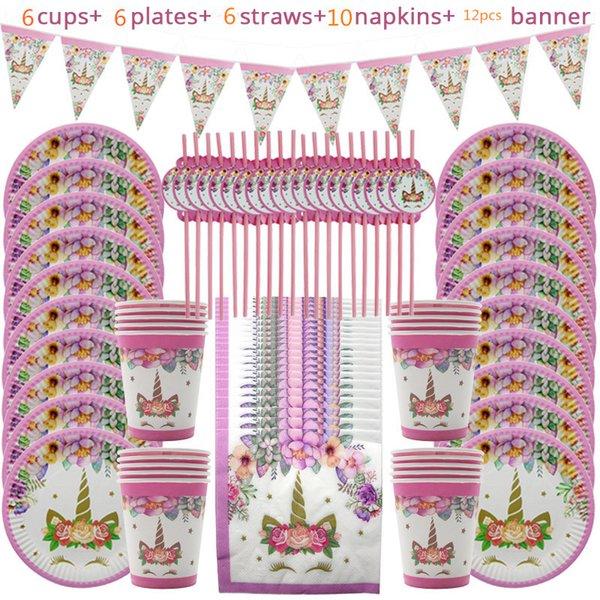 Unicorn Party Supplies Rose Arc-En-Ciel Licorne Bannière Plaques Serviette Cupcake Wrapper Baby Shower Enfants D'anniversaire Décorations