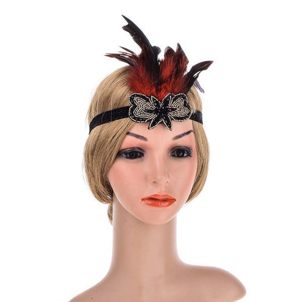 Feder Strass Stirnband 1920er Jahre Stil Silber Perlen Kohle Kristall Haarbänder Halloween Weihnachten Damen Haarschmuck mit Perlen