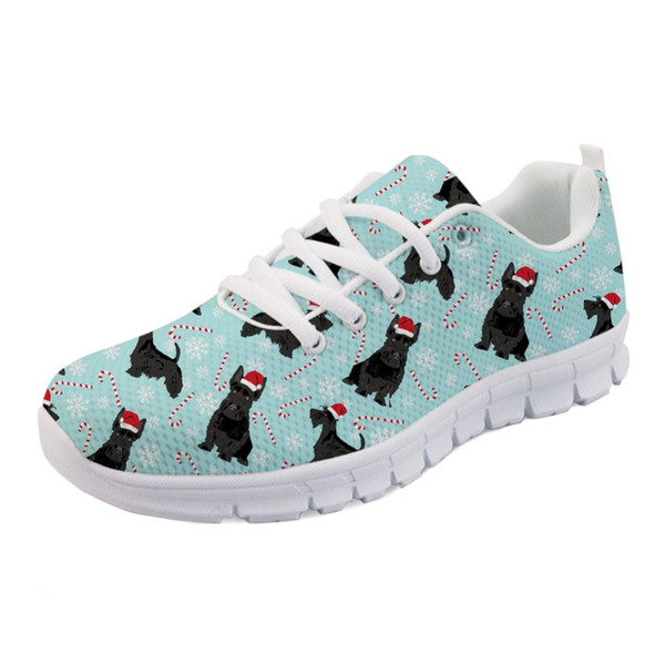 Women's Shoes Flats Lovely Animal Scottish Terrier Print Brand Ladies Comfortable Breathable Sneakers for Teen Girls